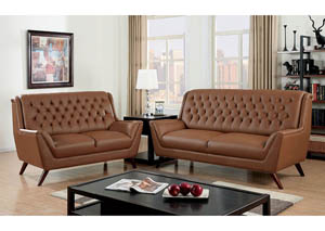 Leia Camel Sofa and Loveseat