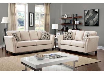 Image for Campbell Ivory Sofa and Loveseat w/Accent Pillows
