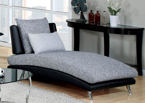 Saillon Gray and Black Chaise