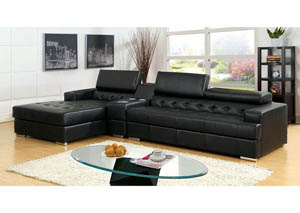 Floria Black Bonded Leather Sectional w/Speaker Console