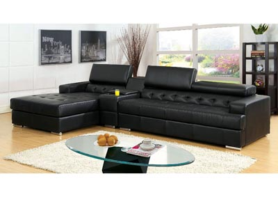 Floria Black Bonded Leather Sectional w/Console Table