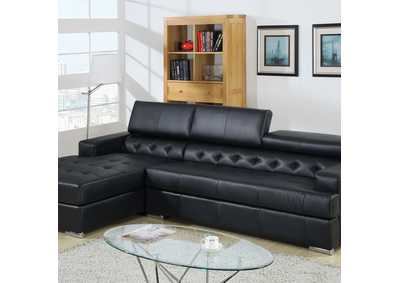 Floria Black Bonded Leather Sectional