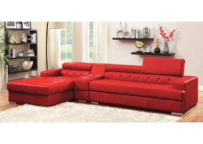 Floria Red Bonded Leather Sectional w/Speaker Console