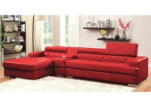 Floria Red Bonded Leather Sectional w/Console Table