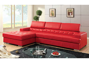 Floria Red Bonded Leather Sectional
