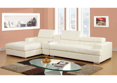 Floria White Bonded Leather Sectional w/Speaker Console