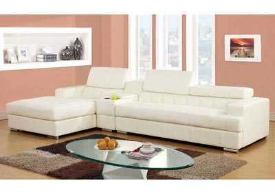 Floria White Bonded Leather Sectional w/Console Table