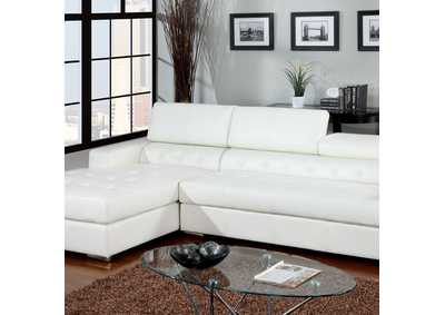 Floria White Bonded Leather Sectional
