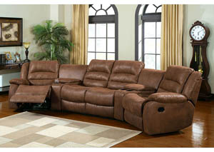 Manchester Brown Home Theatre Sectional w/2 Recliners