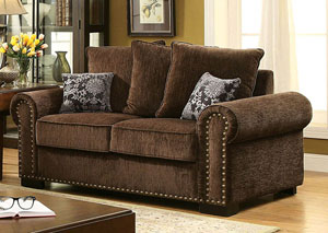 Rydel Brown Chenille Loveseat w/Pillows