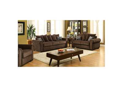 Rydel Brown Chenille Sofa and Loveseat w/Pillows