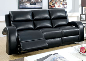 Odette Black Reclining Leatherette Sofa