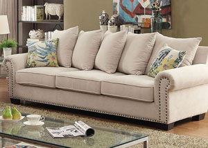 Skyler Ivory Chenille Sofa w/Pillows