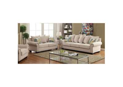 Skyler Ivory Chenille Sofa and Loveseat w/Pillows