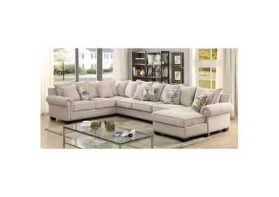 Skyler Ivory Sectional w/Pillows