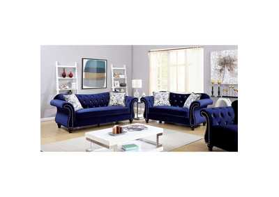 Jolanda Blue Curved-Back Sofa and Loveseat
