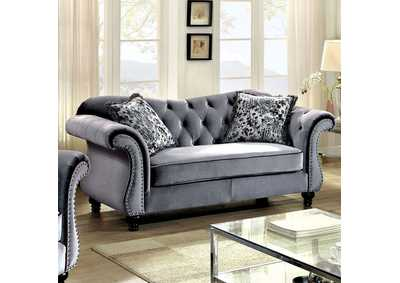 Jolanda Gray Curved-Back Loveseat