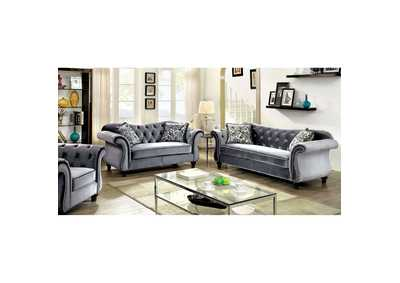 Jolanda Gray Curved-Back Sofa and Loveseat