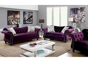 Jolanda Purple Curved Back Sofa And Loveseat