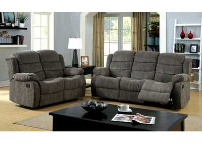 Millville Gray Chenille Motion Sofa and Loveseat
