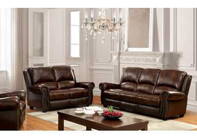 Turton Brown Leather Sofa and Loveseat