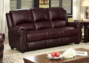 Turton Burgundy Top Grain Leather Sofa