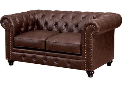 Stanford Brown Leatherette Loveseat