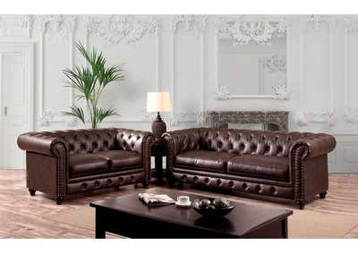 Stanford Brown Sofa and Loveseat