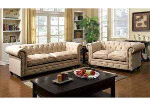 Stanford Ivory Sofa and Loveseat