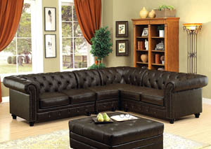 Image for Stanford II Brown Leatherette Sectional