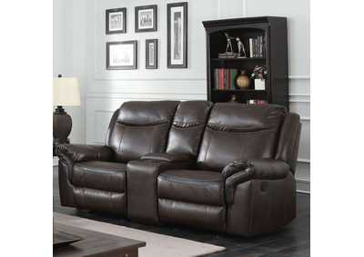 Chenai Brown Leather Gel Reclining Love Seat