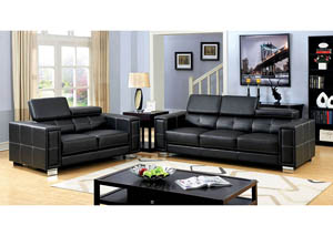 Garret Black Sofa and Loveseat
