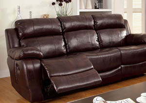 Hughes Dark Brown Motion Sofa w/Dropdown Table