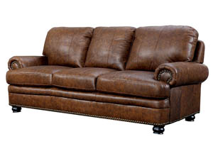 Rheinhardt Dark Brown Sofa w/Top Grain Leather