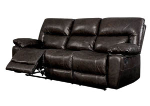 Stallion Rustic Dark Brown Motion Sofa w/Top Grain Leather Match