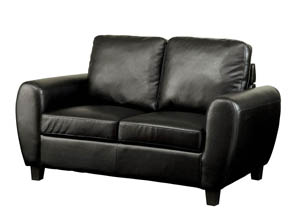 Hatton Black Leatherette Loveseat