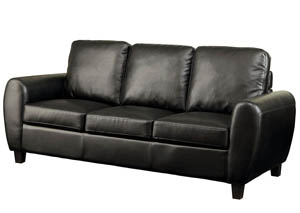 Hatton Black Leatherette Sofa
