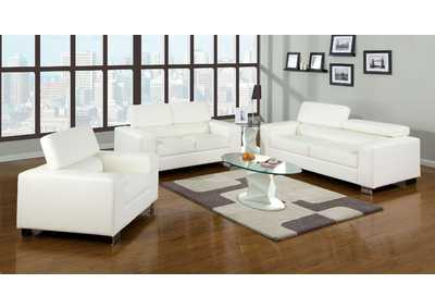 Makri White Sofa and Loveseat