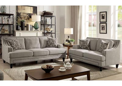 Everly Beige Sofa and Loveseat