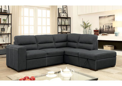 Nellie Graphite Sectional W/Pull Out Sleeper