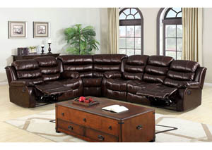 Berkshire Rustic Brown Bonded Leather Match Sectional