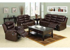 Berkshire Rustic Brown Bonded Leather Match Sofa and Loveseat w/4 Recliners