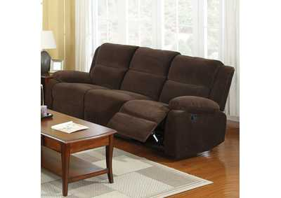 Haven Dark Brown Sofa w/2 Recliners