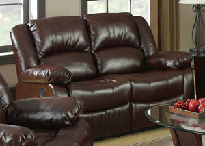 Winslow Dark Brown Bonded Leather Loveseat w/2 Recliners