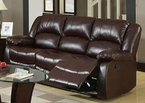 Winslow Dark Brown Bonded Leather Sofa w/2 Recliners