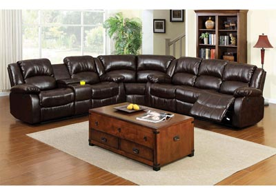 Winslow Dark Brown Bonded Leather Sectional