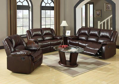 Winslow Dark Brown Bonded Leather Sofa and Loveseat w/4 Recliners