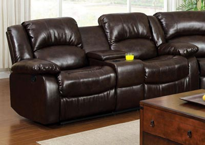 Winslow Dark Brown Bonded Leather Loveseat w/2 Recliners and Center Console