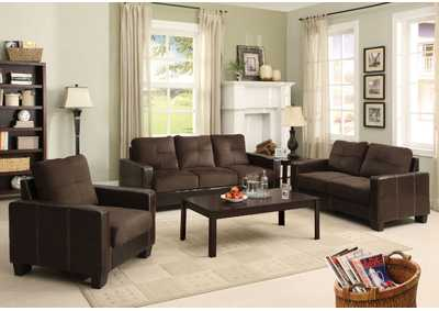 Laverne Chocolate Sofa and Loveseat