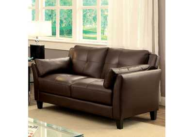 Pierre Brown Leatherette Loveseat